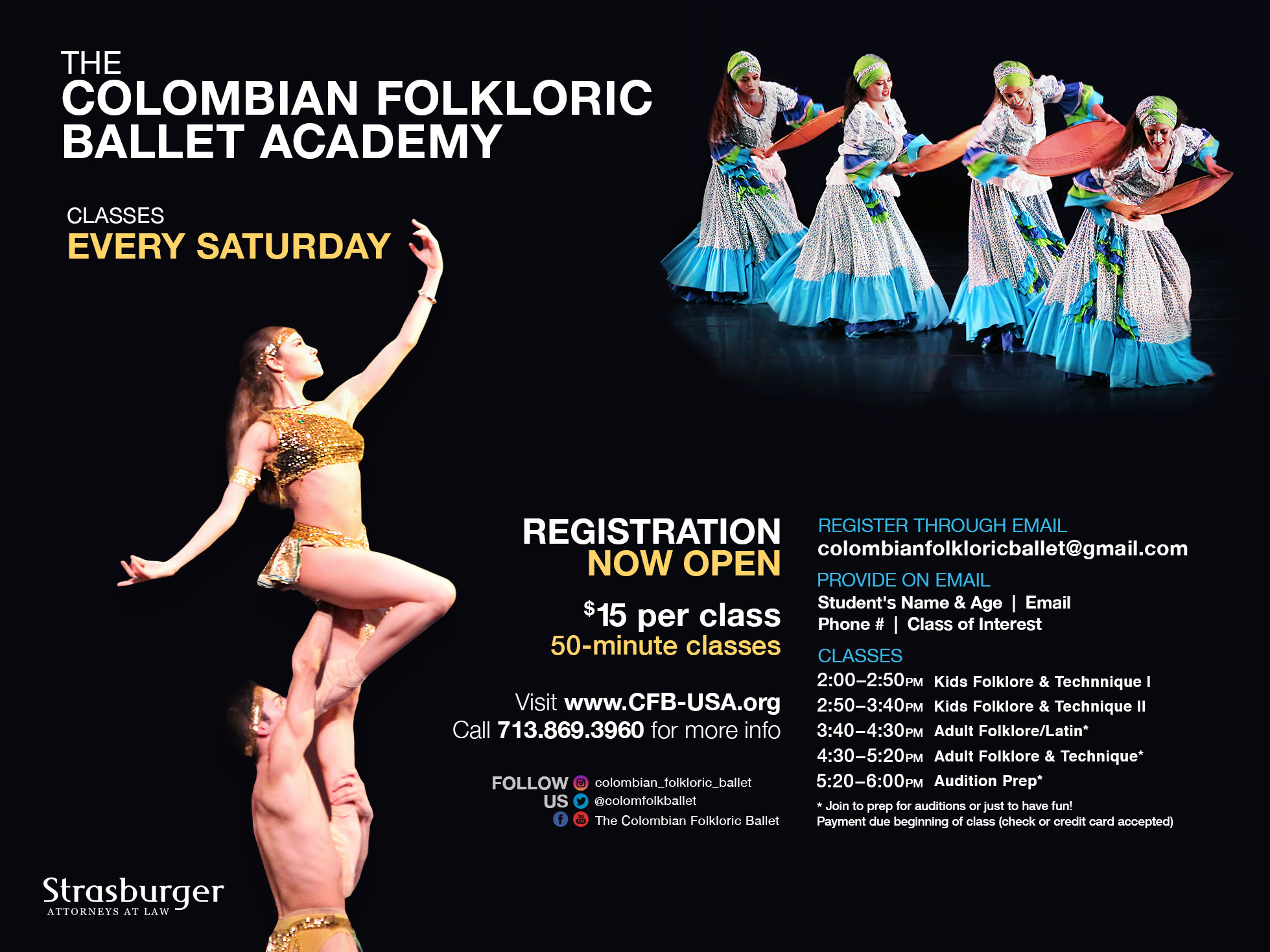 The Colombian Folkloric Ballet Academy Classes Every Saturday